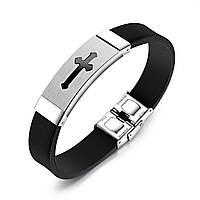 Каучуковый браслет черного цвета с крестом
