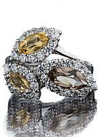 Кольцо серебряное с раухтопазом и цитрином