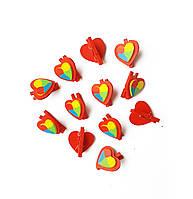 Декоративные мини-прищепки Сердечки Сердца 2.5 см 24 шт/уп