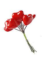 Сердечки сердца на гибкой проволоке декоративные для декора букетов, подарков 3 см 12 шт/уп
