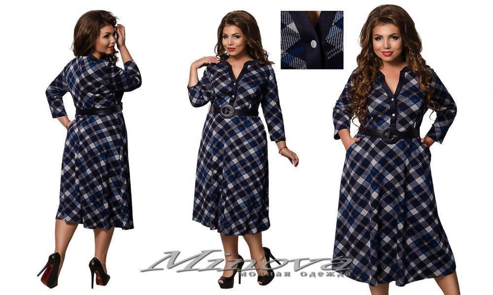Модное женское платье с расклешенной юбкой  Minova  Размеры:56,58