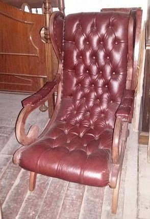 КРЕСЛО ШЕЗЛОНГ кожаное   сер.20 века, фото 2