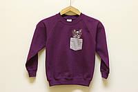 """Детский свитшот с вышивкой """"Папильон"""", фиолетовый"""