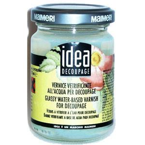 Лак Идея Idea Maimeri (Италия) стекловидный на водной основе),пробник 125 мл  Для декупажа, эпоксидных смол.