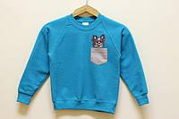 """Детский свитшот с вышивкой """"Папильон"""", голубой"""