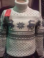 Мужской новогодний свитер с орнаментом с оленями N101