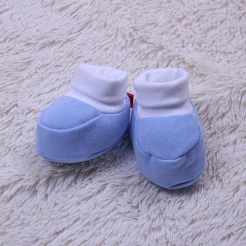 Трикотажные пинетки для новорожденных, голубые