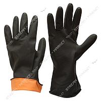 Перчатки рабочие кислотно-щелочностойкие черные размер М