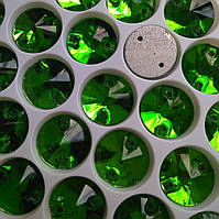 Стразы пришивные Риволи (круг) d12 мм Grass Green (зеленый), стекло, фото 1