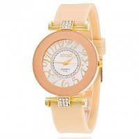 Часы женские силиконовый ремешок Нюдовые 085-1 Код:20395