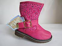Розовые с ажурным голенищем сапожки девочке 25-29 р