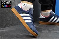 Кроссовки мужские adidas GAZELLE, цвет - темно-синий с красным, материал - замша