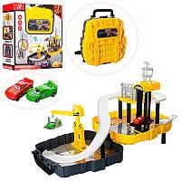 Гараж 6344 Тачки (Cars Walt Disney) стройплощадка, машинка 2 шт, в чемодане