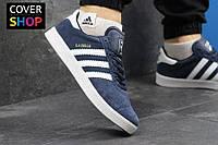 Кроссовки мужские adidas GAZELLE, цвет - темно-синий с белым, материал - замша