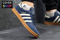 Кроссовки мужские adidas GAZELLE, цвет - темно-синий с коричневым, материал - замша