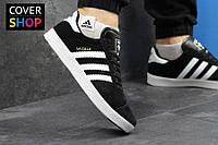 Кроссовки мужские adidas GAZELLE, цвет - черно-белый, материал - замша