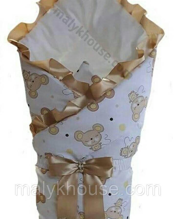 Белый конверт для новорожденного зимний