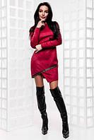 Стильное женское замшевое короткое платье с  длинным рукавом