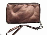 Косметичка прямоугольная малая под мобильник или кошелечек под мелочь цвет шоколад.