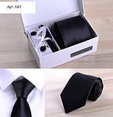 Подарунковий чорний набір без коробки: краватку, запонки, хустку, затискач