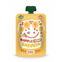 Органическое фруктово-овощное пюре яблуко, морковь, банан, 90 г