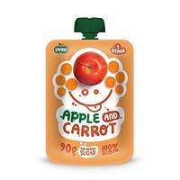 Органическое фруктово-овощное пюре из яблока и моркови, 90 г
