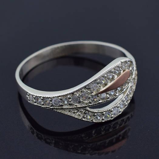 """Серебряное кольцо с золотой пластиной """"Мальва"""", размер 17, серебро 1.98 г, золото 0.05 г"""