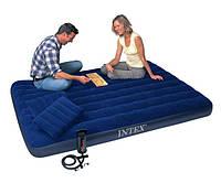 Надувной матрас двухспальный с насосом и подушками Intex