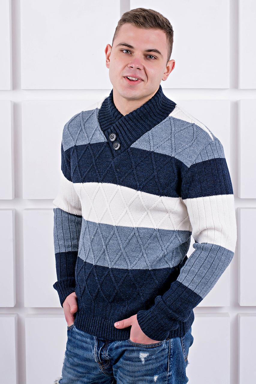 Мужской свитер Ричард шаль синий цвет / размерный ряд 40,42,44,46,48,50