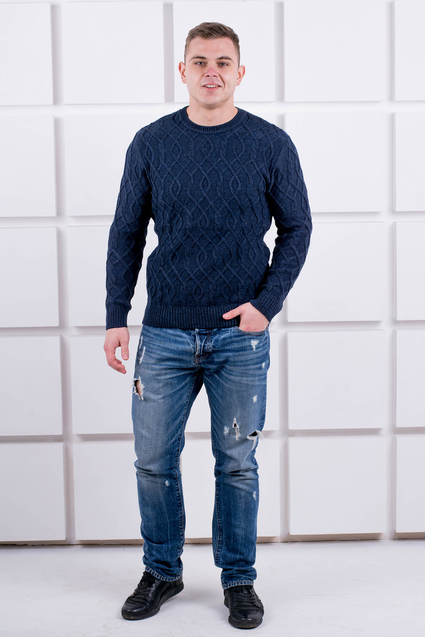 Мужской свитер Лаврентий / размерный ряд 48,50 / цвет синий