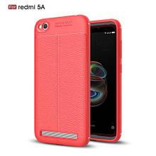 Чехол накладка силиконовый TPU Litchi Grain для Xiaomi Redmi 5A красный