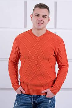 Мужской теплый свитер Василий / размерный ряд 46,48,50 / цвет кирпичный