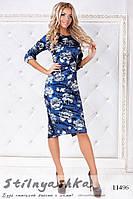 Бархатное платье в цветах синее