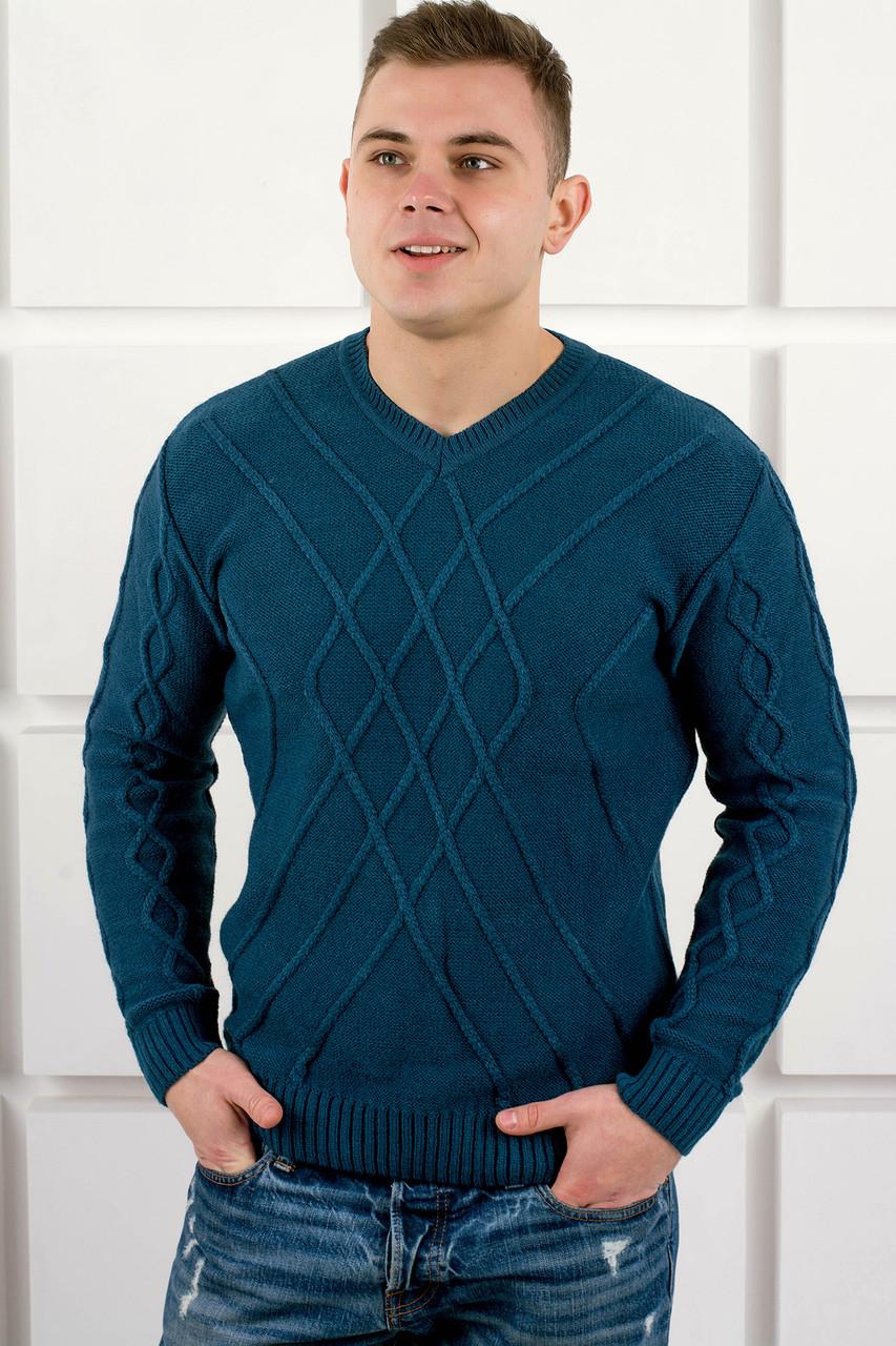 Мужской теплый свитер Василий / размерный ряд 48,50 / цвет бирюза