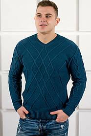 Мужской теплый свитер Василий / размерный ряд 46,48,50 / цвет бирюза