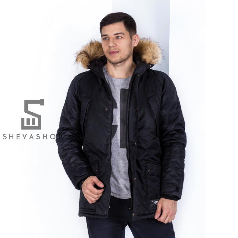 Зимняя мужская куртка Pitt 2018 с мехом черная