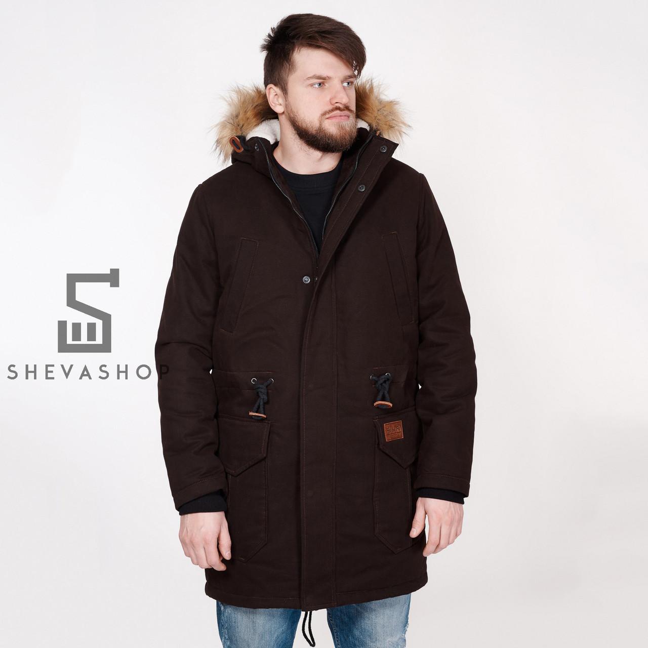 Зимняя мужская куртка F&F Bear коричневая