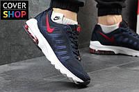 Мужские кроссовки Nike Air Max, темно-синие с красным, материал - плотная сетка, подошва - пенка