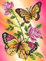 """Схема для вышивки бисером/крестом на габардине  """"Бабочки и розы"""""""