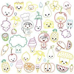 """Наклейка - розмальовка багаторазова """"Веселі фрукти"""""""