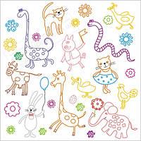 """Наклейка раскраска многоразовая в детскую комнату """"Животные"""""""