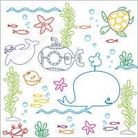 Море - наклейка -раскраска многоразовая для будущего капитана!
