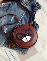 Маленькая, прикольная сумочка с медведем, коричневая