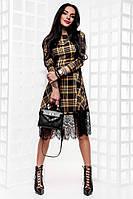 Платье женское в клетку приталенное с пышной юбкой