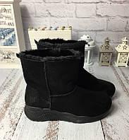 Женские ботинки угги черные в спортивном стиле эко замша