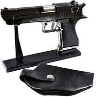 Зажигалка в виде пистолета Desert Eagle черный в кобуре металл+пластик SKU0000910, фото 1