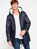 Пальто мужское с капюшоном синее 100% хлопок