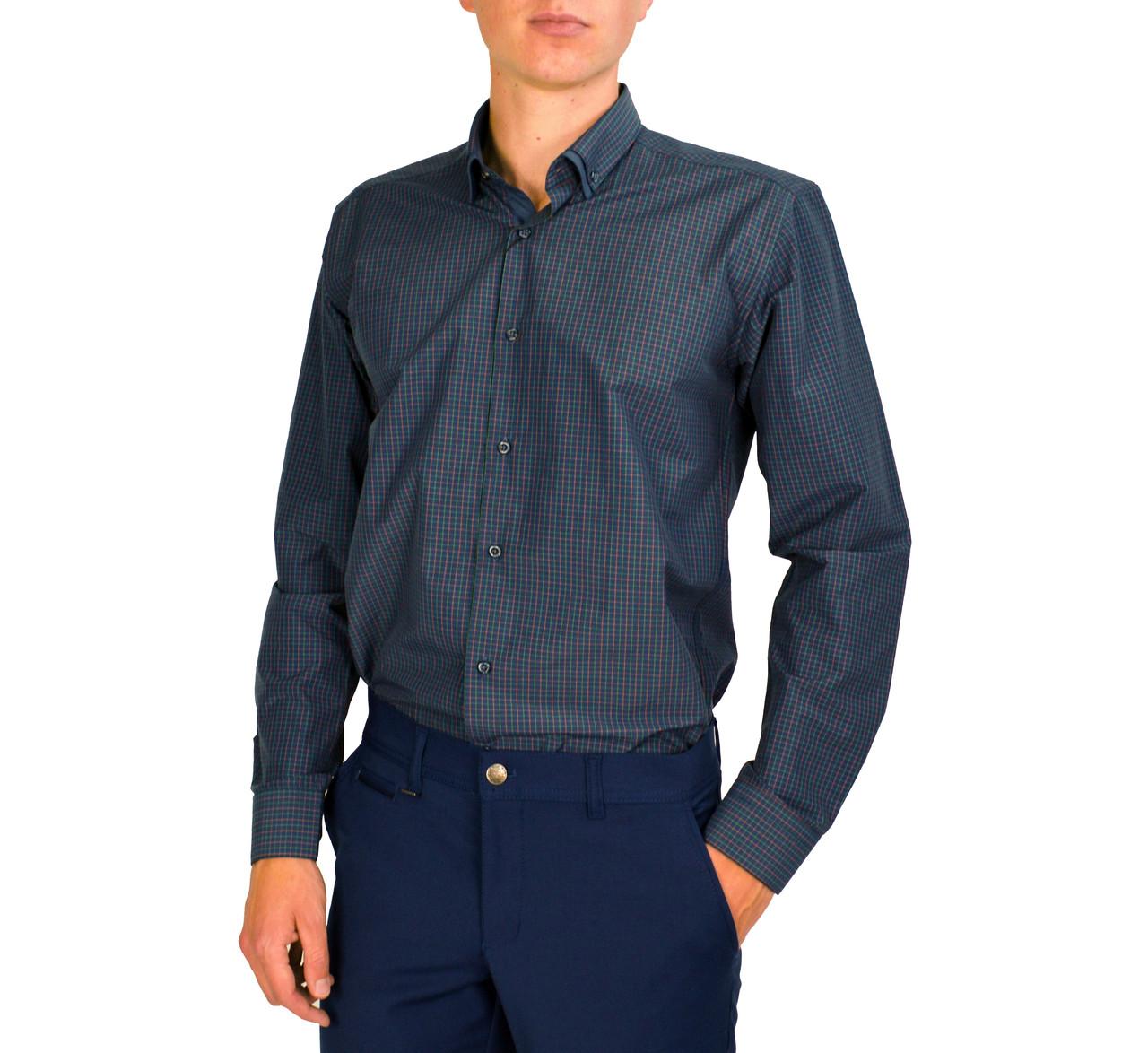 Синяя мужская рубашка классическая PALMEN в мелкую клетку