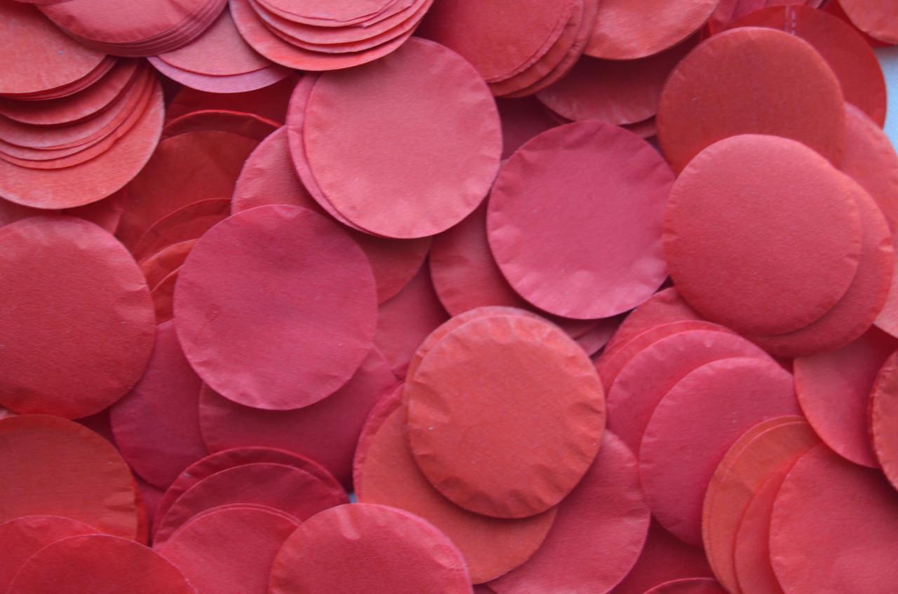 Конфетти в виде кружочков  - красный