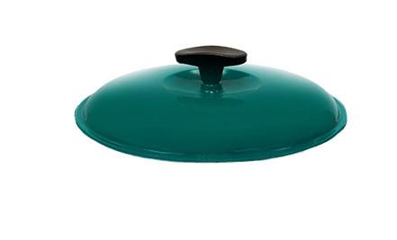 Крышка чугунная, эмалированная цветным покрытием. Диаметр 200 мм. Зеленый цвет